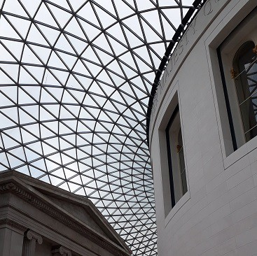 Picture of the amazing glass ceiling at the British Museum, with is free to enter