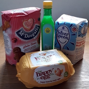 Picture of flour, eggs, lemon juice and sugar with cashback from TopCashback