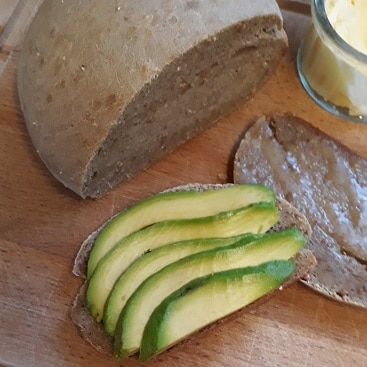 PIcture of sour dough loaf with avocado from our breadmaker