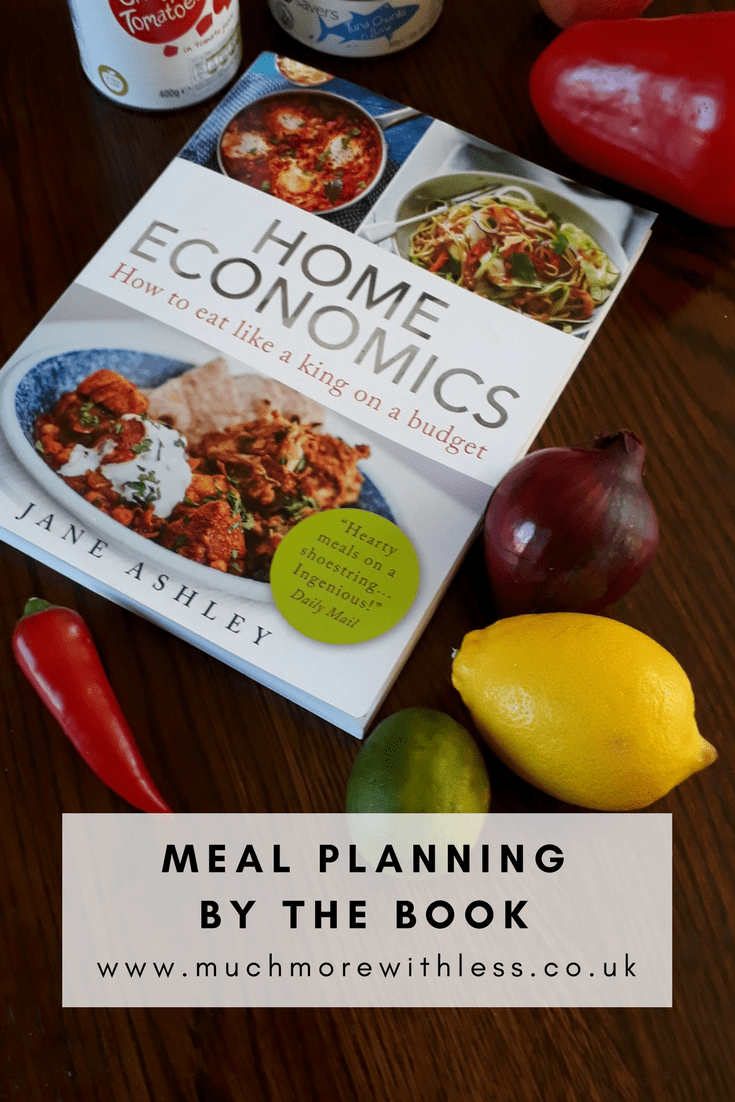 Pinterest size image to illustrate my post on Home Economics, about meal planning by the book