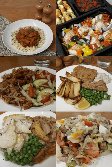PIctures of the meals we ate from Home Economics Cook Book