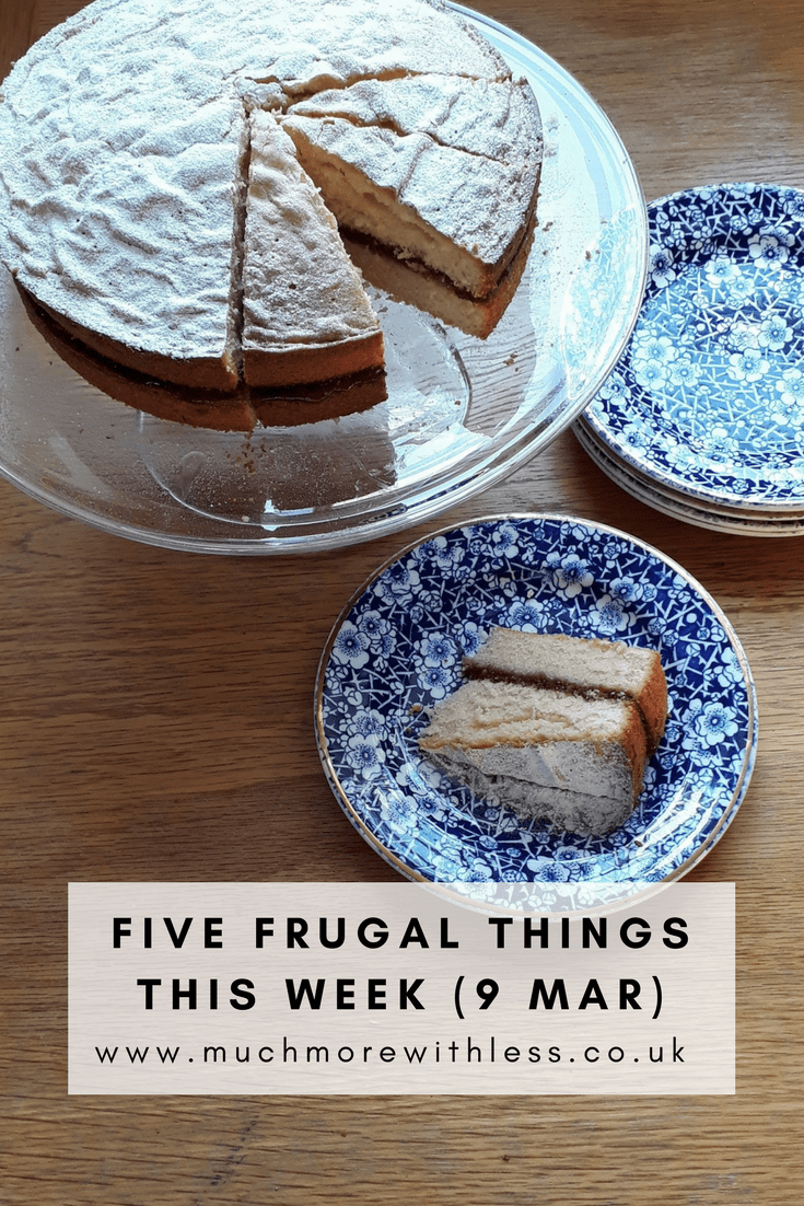 Pinterest size image of a Victoria Sponge cake to illlustrate my five frugal things post