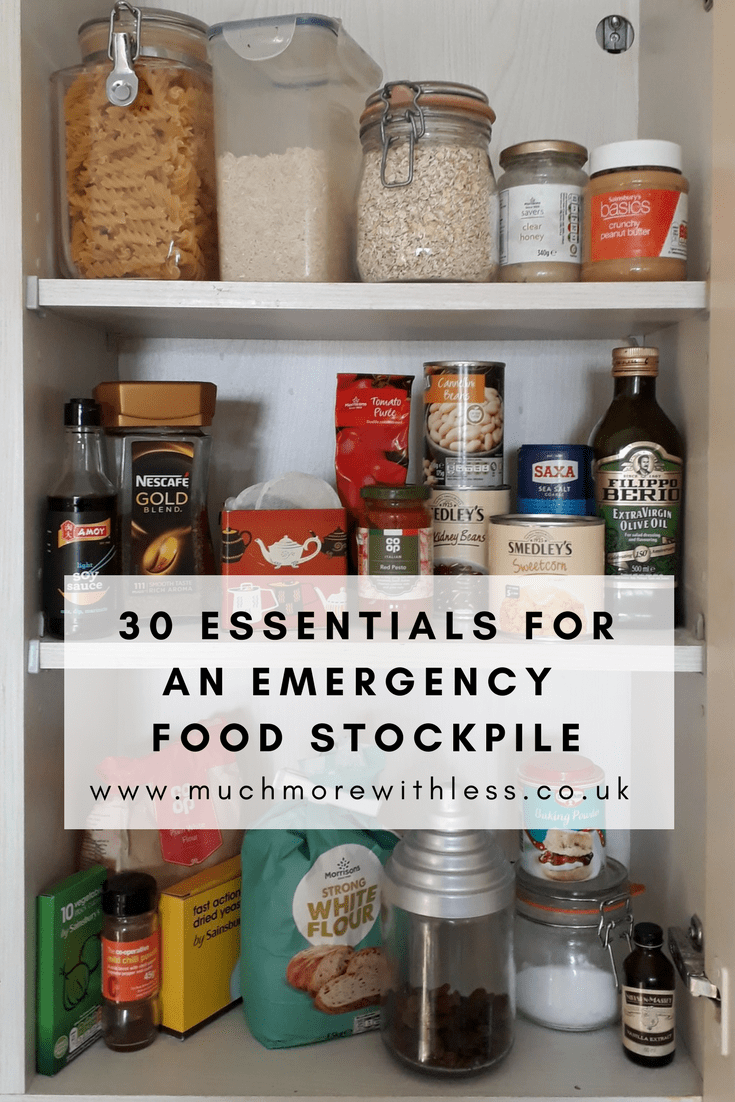 Pinterest size image of some of my emergency food stockpile