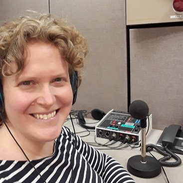Picture of me in a BBC Suffolk radio studio for 5 frugal things this week