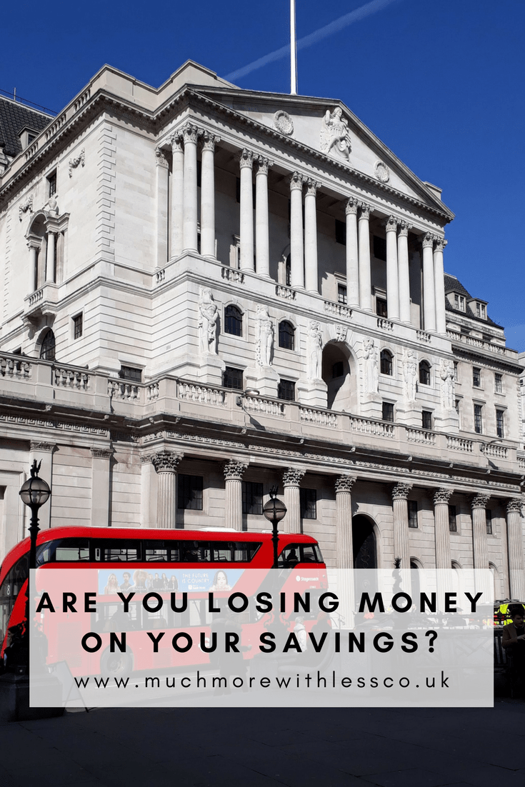 Pinterest size image with photo of the Bank of England for my post on are you losing money on your savings?