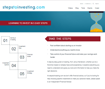 Screen grab of the Steps to Investing website home page