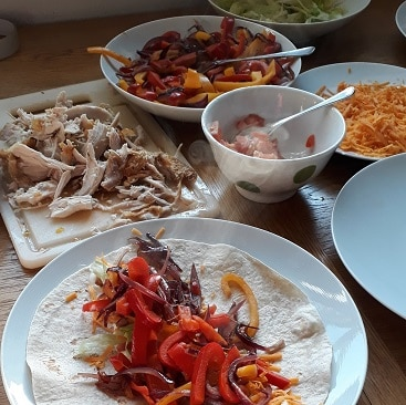 Picture of ingredients for chicken fajitas on the table for my post about five frugal things this week