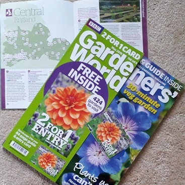 Picture of Gardeners' World magazine with 2 for 1 card and booklet listing gardens for my 5 frugal things post