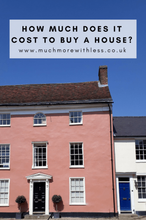 Pinterest size image of a big pink house and a small white house to illustrate my post on how much does it cost to buy a house