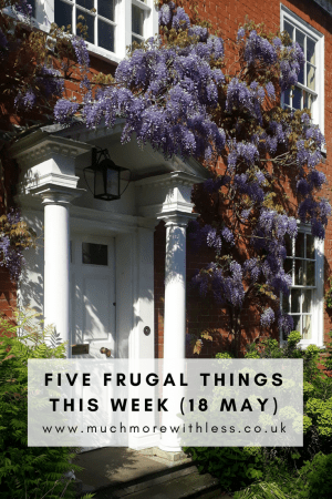 Pinterest size image of purple wisteria flowering on the front of our house for my five frugal things this week post