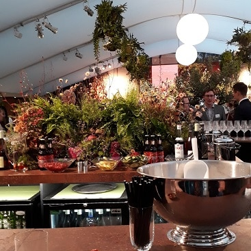 Picture of a bar at Chelsea for my post on how to visit Chelsea Flower Show for less