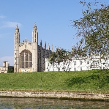Picture of Kings College Chapel from the river during our train trip to Cambridge