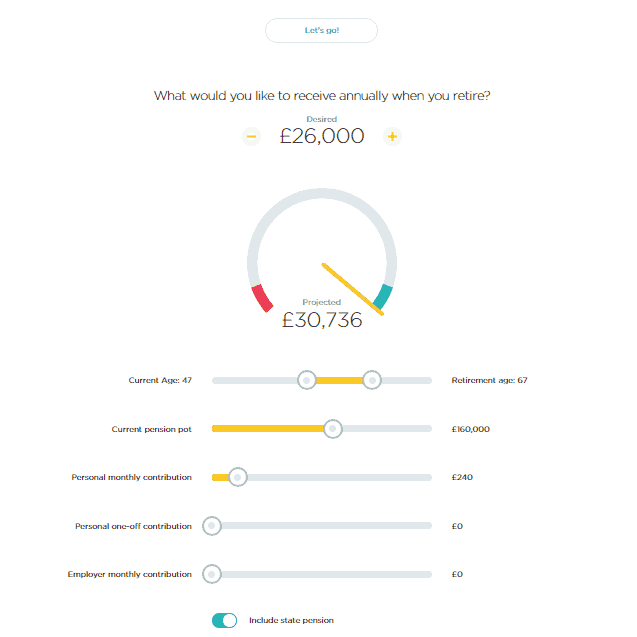 Screen shot of the PensionBee pension calculator with desired income and sliders for age, current pension and contributions, and forecast income of £30,736 including the state pension
