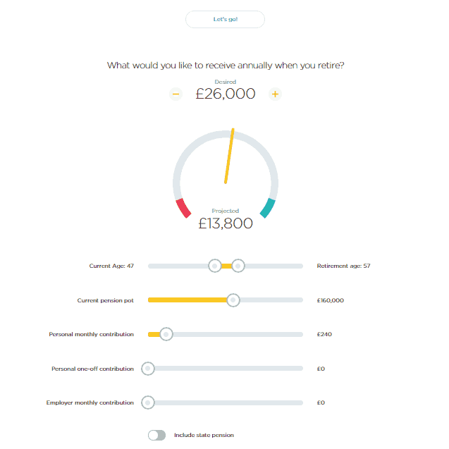 Screen grab of the PensionBee pension calculator if I stopped working 10 years earlier, showing a much lower income at £13,800 without the state pension either.