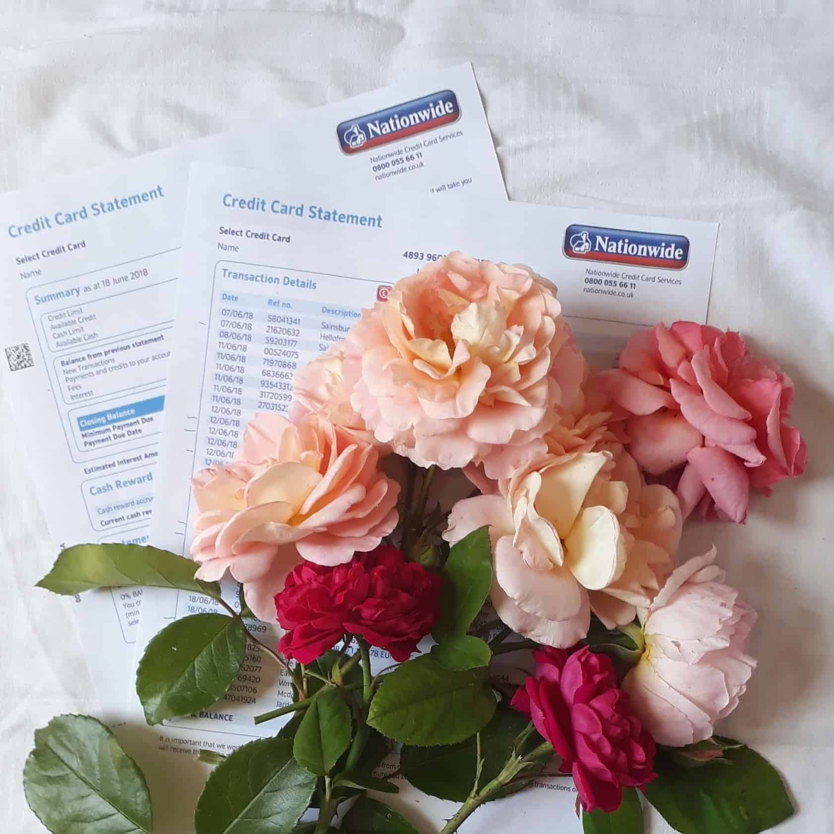 Picture of roses on top of my credit card bill