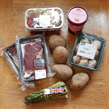 Picture of my Sourced Locally shopping from East of England Co-op for a celebratory Fathers' Day meal