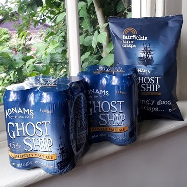 Picture of Adnams Ghost Ship beer and crisps on my windowsill, one of the Sourced Locally offers