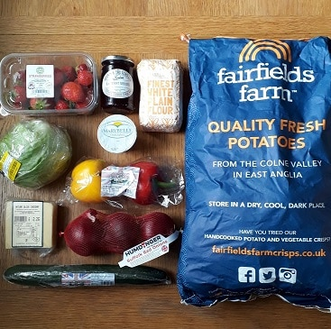 Picture of the extra Sourced Locally ingredients I bought to stretch my meals, listed in the post