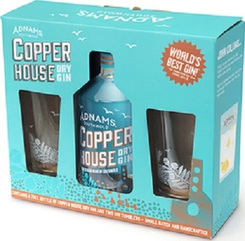 Picture of Adnams Copper House Gin gift pack with two glasses as a competition prize