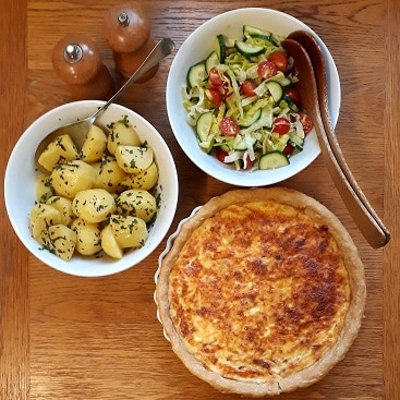 Picture of quiche, potatoes and salad from Sourced Locally shopping