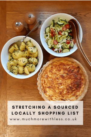 Pinterest sized image of quiche, salad and potatoes from my Sourced Locally shopping
