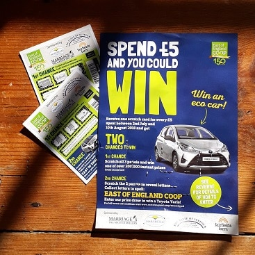 Picture of the leaflet and scratch cards from East of England Coop competition for my 5 frugal things post