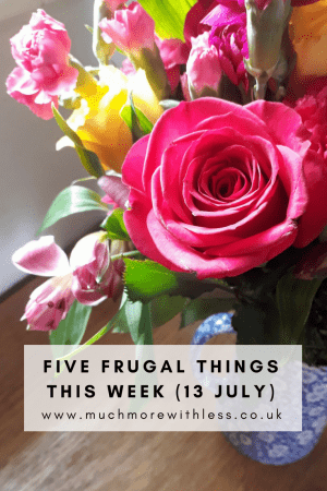 Pinterest size image of a bunch of flowers for my 5 frugal things post