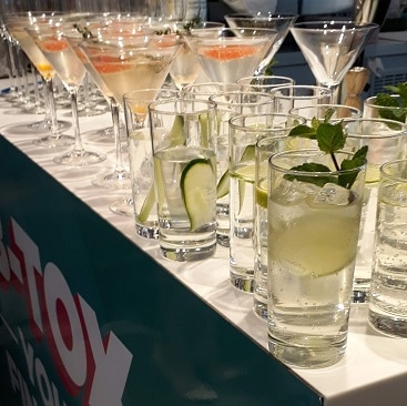 Picture of cocktails at B's Beach Budget Ready event for my post on expert tips to cut holiday costs