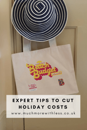 Pinterest size image of sun hat and beach bag for my post on expert tips to cut holiday costs