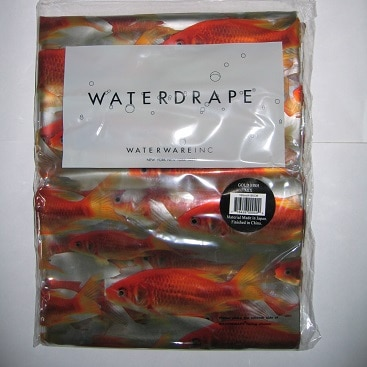 Picture of the goldfish shower curtain I sold on an online marketplace for my post with expert tips when buying and selling on Gumtree
