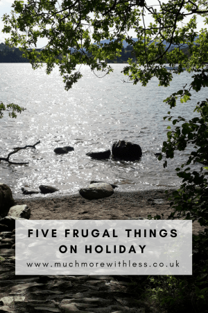 PInterest sized image of Lake Windermere shores and sky for my five frugal things on holiday post