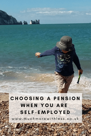 Pinterest sized image of a boy on a beach by the sea for my post on choosing a pension when you are self employed
