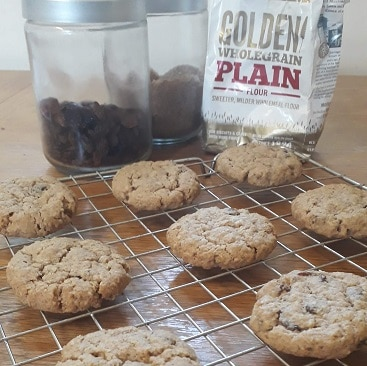 Picture of the oat and raisin cookies I made using Marriage's Flour, as a back to school money saver