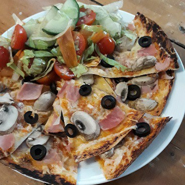Picture of a pizza made using a tortilla wrap as a base for my post of September resolutions