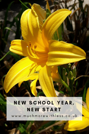 Pinterest size image of a sunshine yellow lily for my post on September resolutions