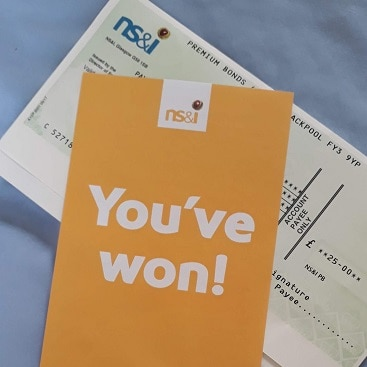 Picture of the leaflet and cheque when i won £25 on the Premium Bonds