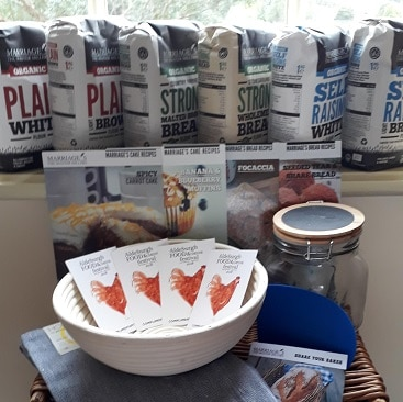 Picture of the prize I won in a Marriage's Flour competition, including 6 bags of flour, baking kit and weekend tickets to the Aldeburgh Food & Drink Festival