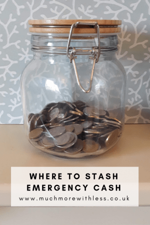 Pinterest size image of money in a glass jar for my post on emergency savings