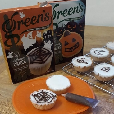 Picture of Green's Hallowe'en Cake mix and cakes my daughter baked