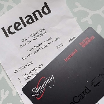 Picture of the Slimming World Iceland bonus card I used to save on my food shopping