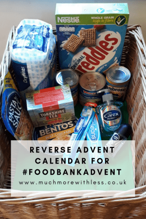 Pinterest size image of items in a box as a reversea advent calendar for #Foodbankadvent