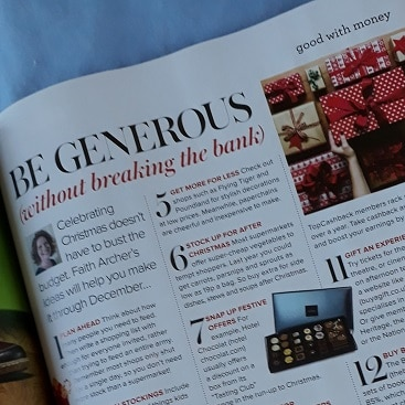 Picture of my Christmas column in the latest Woman&Home magazine
