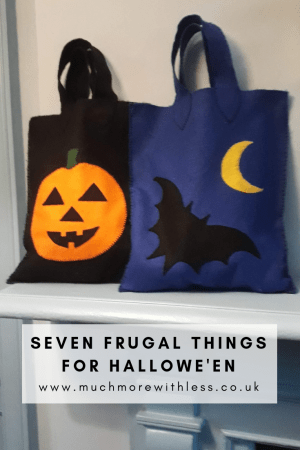 Pinterest sized image with our two home made trick or treating bags for my post on seven frugal things for Halloween