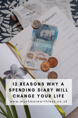 Pinterest sized image of a diary, coins, fiver and receipts for my post about 12 reasons why a spending diary will change your life