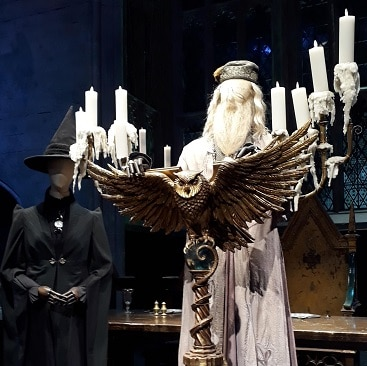 Picture of Dumbledore and McGonagall models at the Harry Potter studio Tour for my 5 frugal things post