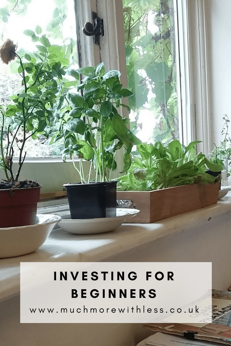 Pinterest size image of plants on a windowsill, for a post on Investing for Beginners