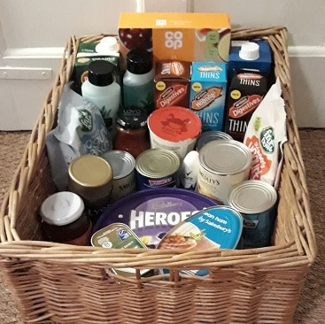 Picture of a hamper with the food and toiletries I collected for #Foodbankadvent