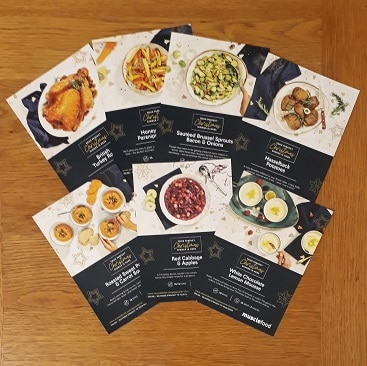 Picture of the 7 recipe cards provided in the Muscle Food EasyCook 3 course Christmas recipe box