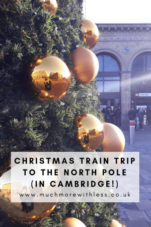 Pinterest size image of the Christmas tree with big gold baubles outside Cambridge station, for my post about visting The North Pole