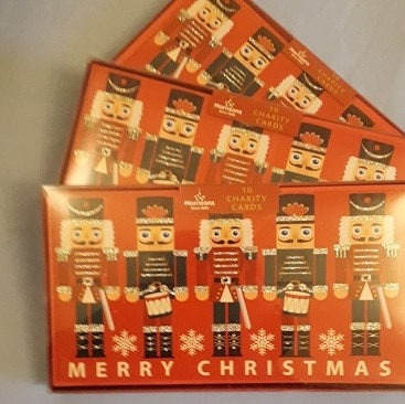 Picture of half price Christmas cards, with a picture of red Nutcracker soldiers, for my five more festive frugal things post
